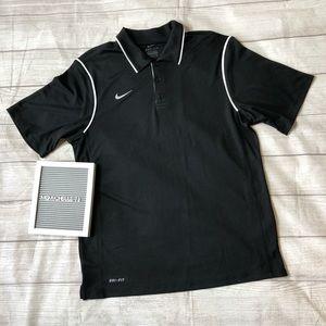 Nike Dri-Fit Mens Size Medium Black & White Polo